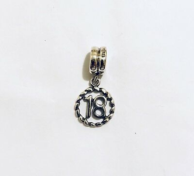 Sterling Silver Number Sweet 18 Charm Like Pandora Trollbeads &Chamilia type