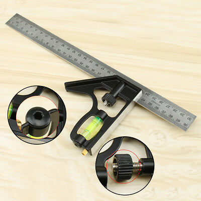 """300mm 12"""" - Adjustable Engineers Combination Square Set Kit Right Angle Ruler"""