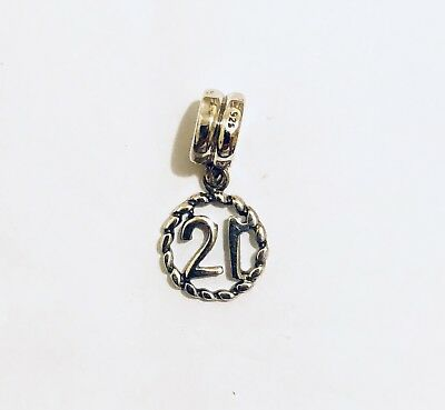 Sterling Silver Number Sweet 21 Charm Like Pandora Trollbeads &Chamilia type
