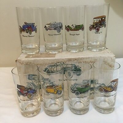 Avon Vintage Antique Car 12 Oz Glasses Tumblers With Box Man Cave Free Shipping!