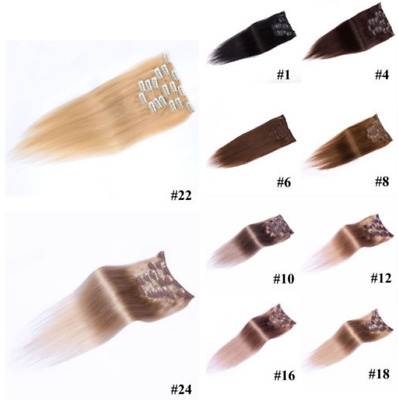 Natural Straight Hair Full Head Extensions Women Clip In Real Soft Human Hair