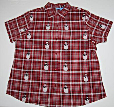 Holiday Plaid Snowman Shirt -- Size 2X -- NWT
