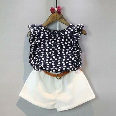 Toddler Girls Clothing Set Chiffon Floral Tops Blouse&White shorts&Leather Belt