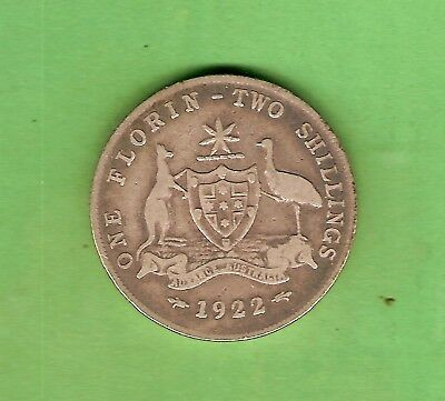 #c34. 1922  Australian Sterling Silver Florin Two Shilling  Coin