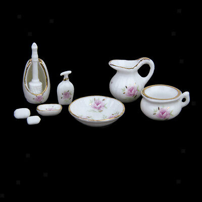 1/12 Scale Dollhouse Bathroom Accessory Set Floral Ceramic 8PCS -Pastel Rose