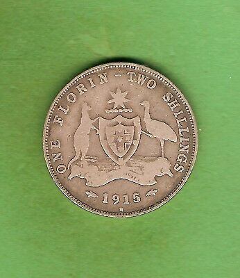 #c34. 1915 H  Australian Sterling Silver Florin Two Shilling  Coin
