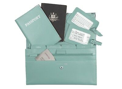 Personalised Monogrammed Genuine Leather Passport Travel Wallet 4pcs Set - Aqua