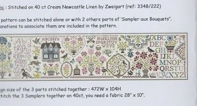 Sampler aux Bouquets (set of 3) - fun cross stitch chart - Jardin Prive