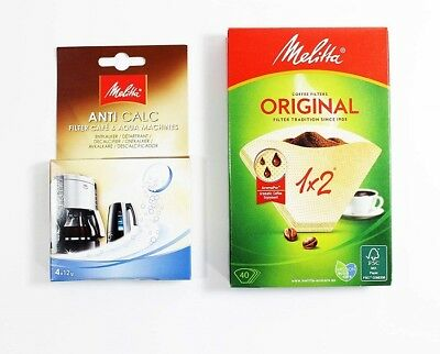 Melitta 1 x 2 Coffee Filters with 4 x 12g Descaling Tablets  80087  MEL654575