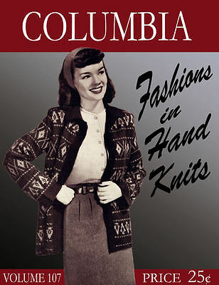Columbia #107 c.1946 Lovely Vintage Fashions for Women in Hand Knitting
