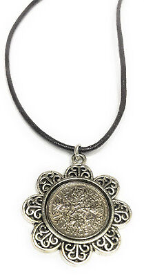 Floral Pendant 1950 Lucky sixpence 69th Birthday 18 inch Sterling Silver Chain