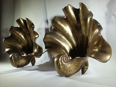 "2 Large Solid Brass Mid Century Nautical Seashell Deco 7"" Pair Vintage Rare"