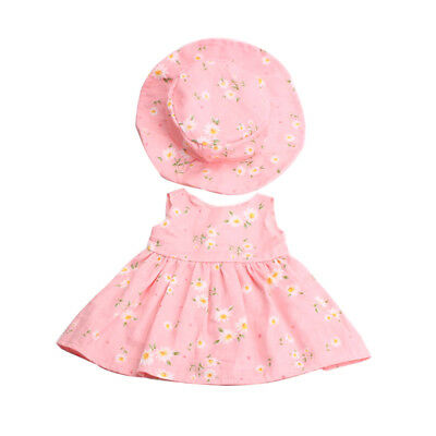 Pink Floral Dress With Hat Suit Clothes Outfit For 18inch American Girl Doll