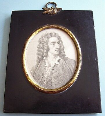 FINE C18th GEORGIAN PORTRAIT MINIATURE PRINT ALEXANDER POPE ACORN FRAME C.1790