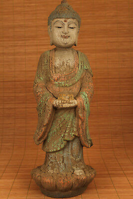 Big Rare chinese old wood hand carving buddha statue home decoration 13.0 inch H
