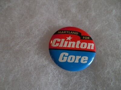Maryland Presidential Bill Clinton Pin Back Campaign Candidate Button For Gore