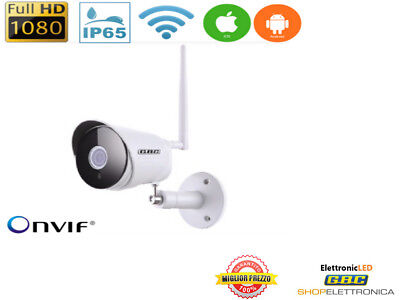 TELECAMERA IP WI FI DA ESTERNO HD 1080p 2Mpx MOTION SD ONVIF IP65 ANDROID IOS