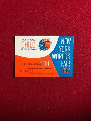 "1964, NEW YORK WORLDS FAIR, ""Un-Used"" Child Admission Ticket (Scarce)"