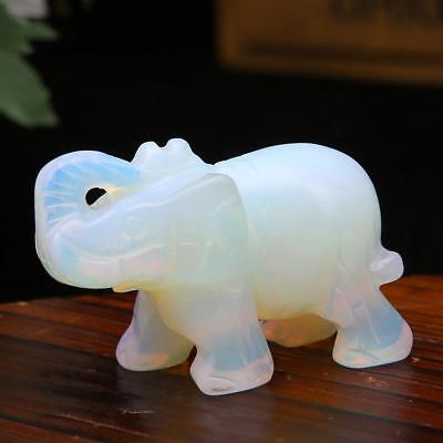 Cute Hand Carved Elephant Gemstone Party Birthday Moonstone Gla_GlazeP
