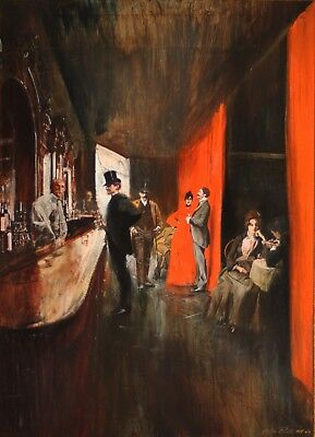 MORTON ROBERTS-Original Signed Oil-Anderson's Saloon French Qtr, NEW ORLEANS