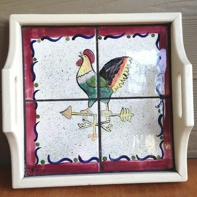 "Wood And Ceramic Tile Tray Of Rooster 14"" Square"