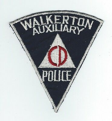 "VINTAGE WALKERTON, INDIANA  AUX POLICE ""CD"" (CHEESE CLOTH BACK) patch"
