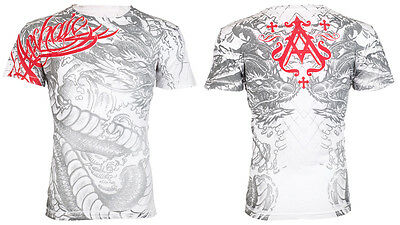 Archaic by Affliction Mens S/S T-Shirt DRAGON RAGE Chinese WHITE Biker S-3XL $40