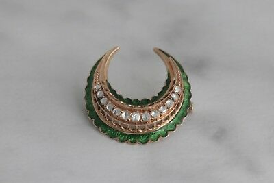 Antique Green Enamel And Aquamarine Crescent Brooch Pin -14k Yellow Gold