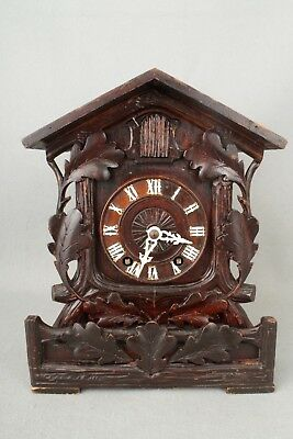 Antique BEHA Black Forest Twin Fusee Mantel Cuckoo Clock Labelled Camerer Kuss