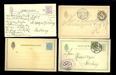 4 Denmark Postal Card Stamp Letter Card 1895 1905 Wolff Hamburg Germany Lot Q66