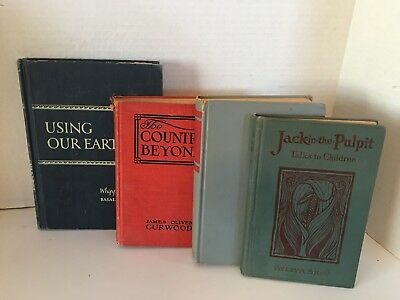 Lot of 4 Old Antique Vintage Books Collectible Set Decorative Hardcover Books