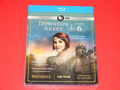 Masterpiece: Downton Abbey - Season 6 (Blu-ray, 3-Disc Set)   New + Slipcover