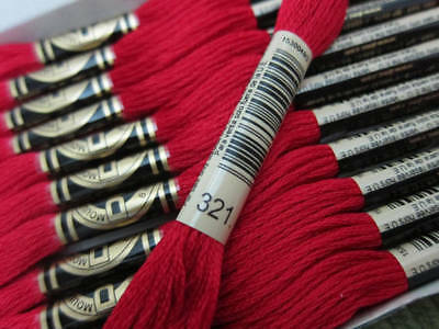 DMC 6 Strand Embroidery Floss Cotton Thread Bulk 321 Christmas Red 12 Skeins