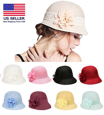 5d6fe6ff149f48 1920's Inspired Women's Gatsby Linen Cloche Hat With Lace Band and Flower