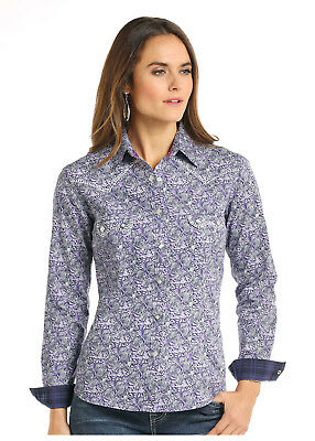 f26a3a75 Panhandle Slim Women's Purple & White Paisley Snap Up Western Shirt R4S7616