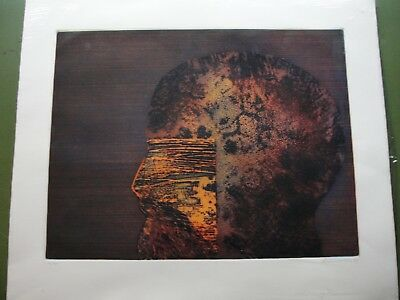 Scarce Modernist Colored Etching by Dennis Olsen 1974 Signed Numbered