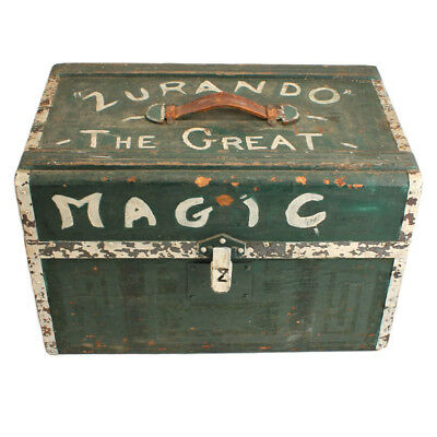 Antique Painted Magician's Box c. 1900 - Zurando the Great - Folk Art AAFA