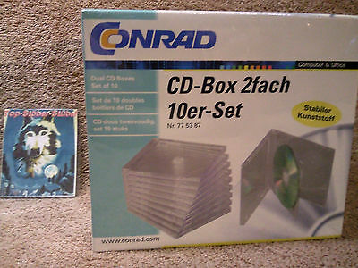 2Fach Jewelcase Doppel CD / DVD Leer Hüllen BOX 10er Pack Transparent Conrad OVP
