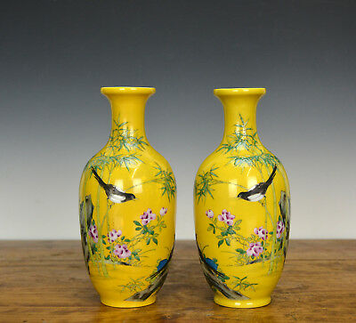 Pair of Chinese Famille Rose Yellow Ground Enamel Porcelain Vase