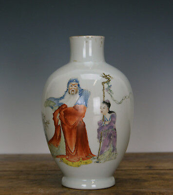 Superb 19th c. Chinese Qing Mark Famille Rose Su Wu Figure Porcelain Vase