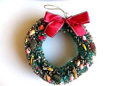 Vintage Bottlebrush Green Wreath & Fruit & Pinecones&red Bow Christmas Ornament