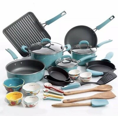 The Pioneer Woman Cookware Set Turquoise Pots And Pans Set 30