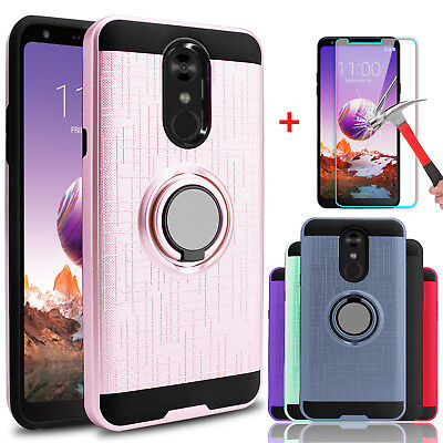 For LG Stylo 4/4+/4 Plus Shockproof Armor Case With Ring Holder+Screen Protector