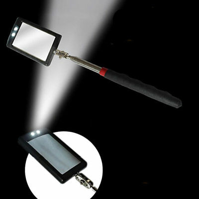 2 LED TELESCOPIC INSPECTION MIRROR LIGHT EXTENDING ANGLE VIEW 29cm To 89cm