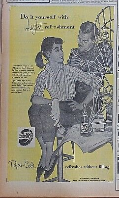 1957 newspaper ad for Pepsi - Couple paints patio furniture, Do it yourself