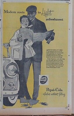 1957 newspaper ad for Pepsi - Modern Route to Light refreshment, motorists