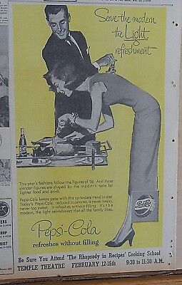 1957 newspaper ad for Pepsi - Fashion follows figures of 1956, couple at dinner