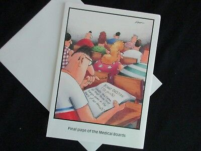 "Vintage 1987 The FAR SIDE GOOD LUCK CARD ""Final Page Of The Medical Boards"""