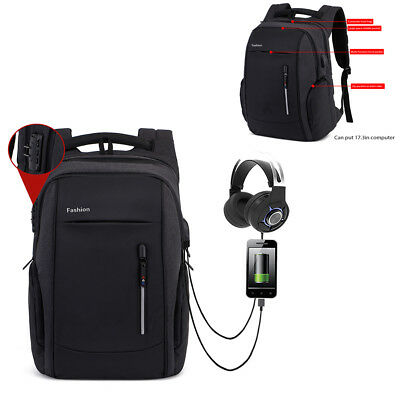 """17.3"""" Waterproof Laptop Backpack Computer Anti-thieft Bag With USB Charge Port"""