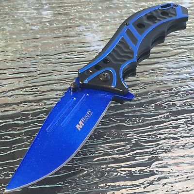 "MTECH USA 8.25"" BLUE SPRING ASSISTED TACTICAL FOLDING POCKET KNIFE Assist Open"